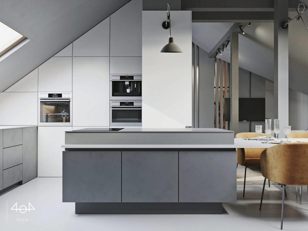 Orange is the new grey od pracowni 404Stud.io - projekt piętra domu jednorodzinnego - szara wyspa kuchenna