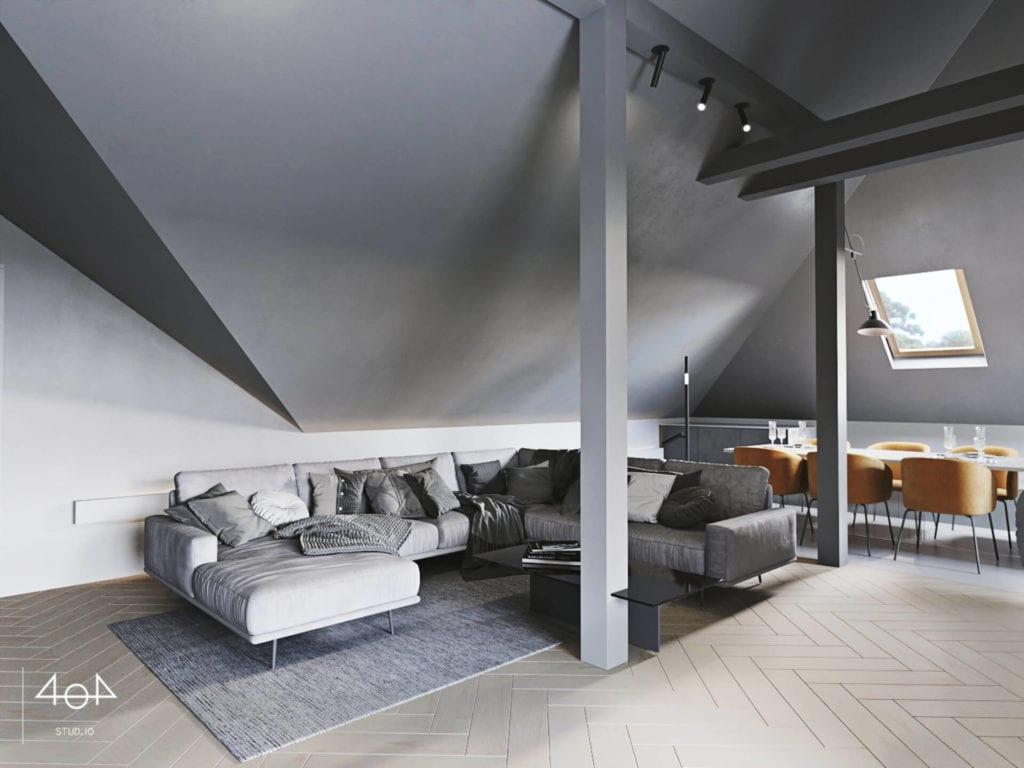 Orange is the new grey od pracowni 404Stud.io - projekt piętra domu jednorodzinnego - skosy na poddaszu