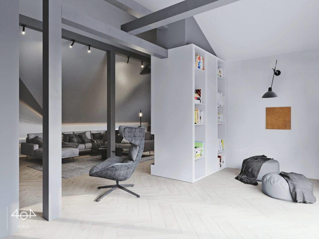 Orange is the new grey od pracowni 404Stud.io - projekt piętra domu jednorodzinnego
