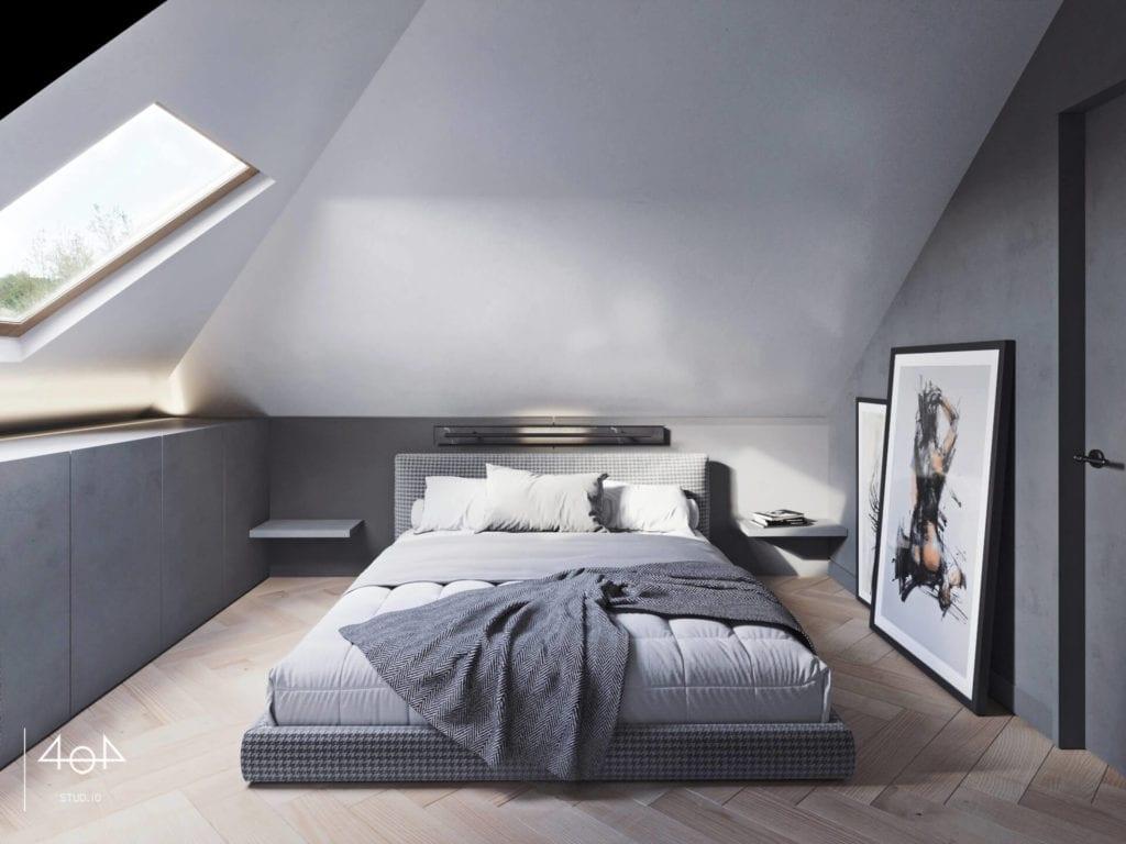 Orange is the new grey od pracowni 404Stud.io - projekt piętra domu jednorodzinnego - duże łóżko z materacem