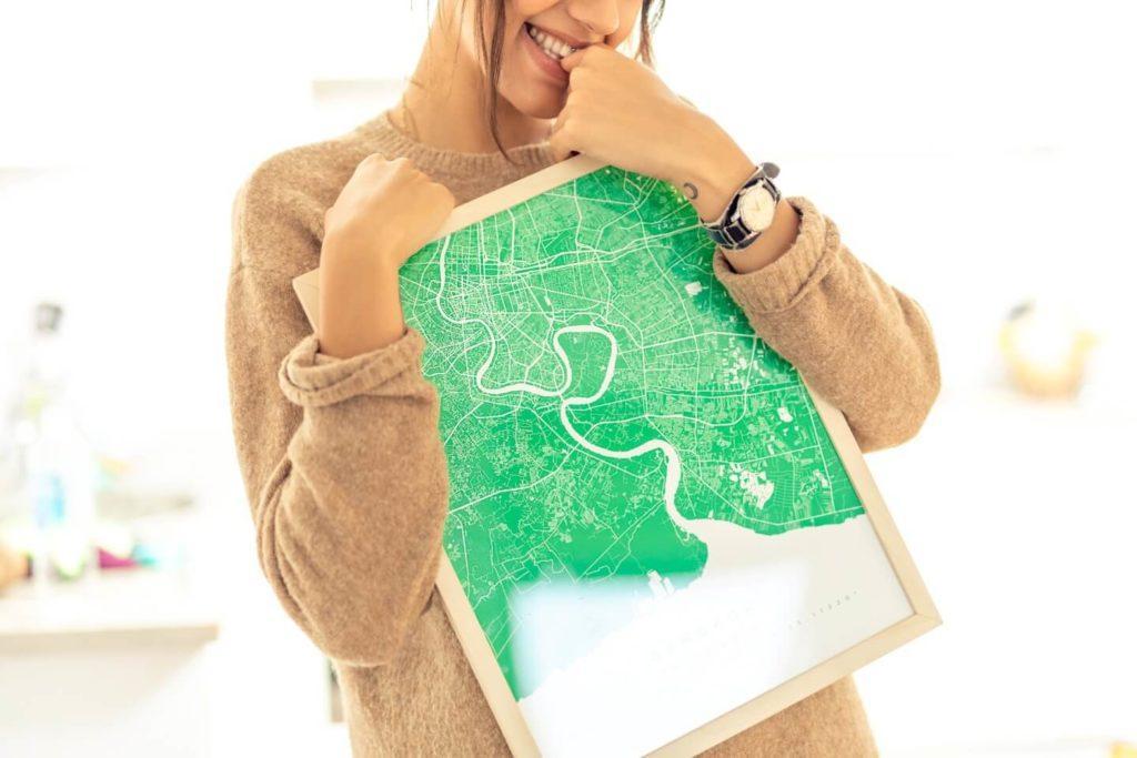 Plakaty Himaps - dekoracje ścienne pełne wspomnień - plakat mapa w kolorze zielonym
