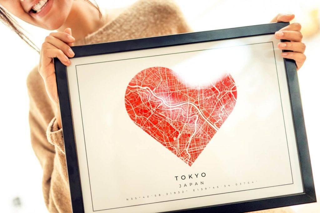 Plakaty Himaps - dekoracje ścienne pełne wspomnień - mapa plakat serce tokyo