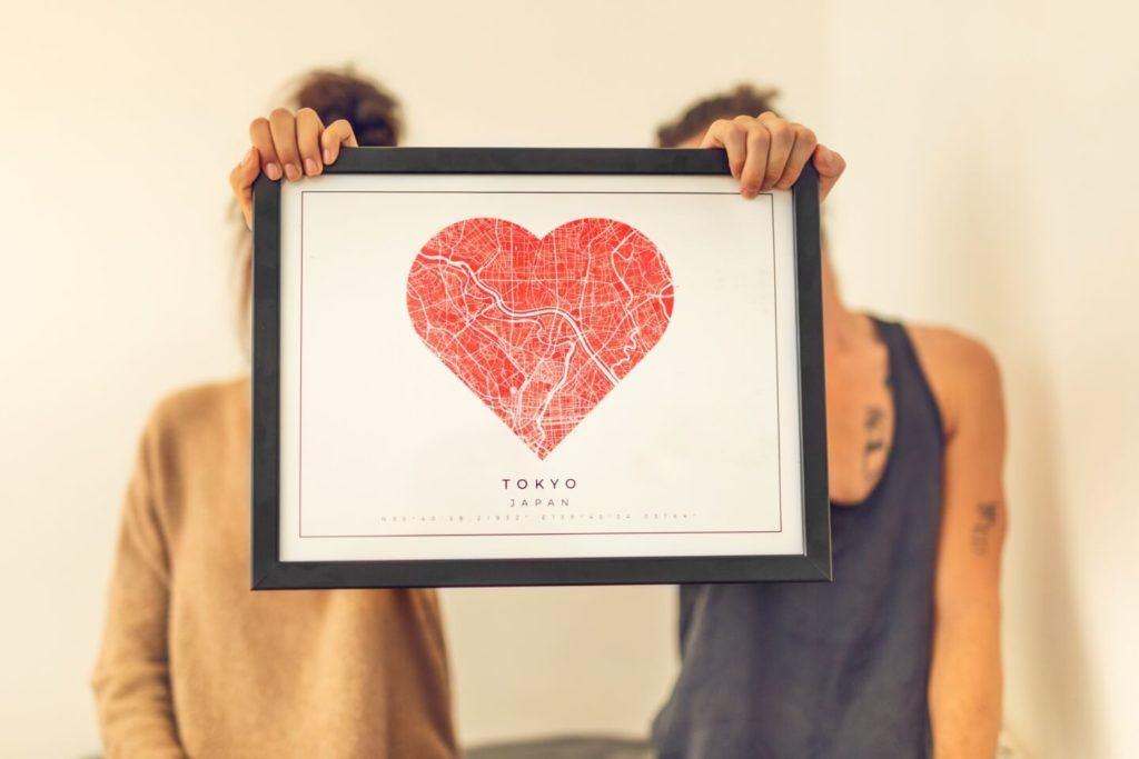 Plakaty Himaps - dekoracje ścienne pełne wspomnień - plakat mapa serce tokyo