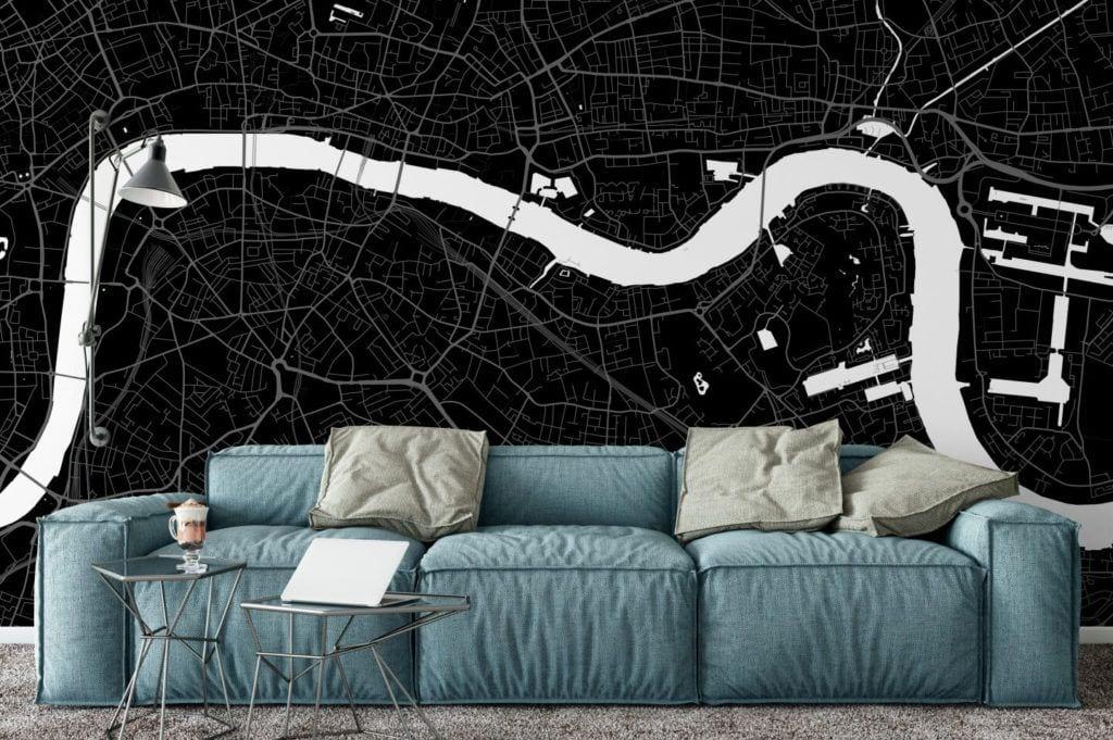 Plakaty Himaps - dekoracje ścienne pełne wspomnień - czarna mapa na ścianie w pokoju