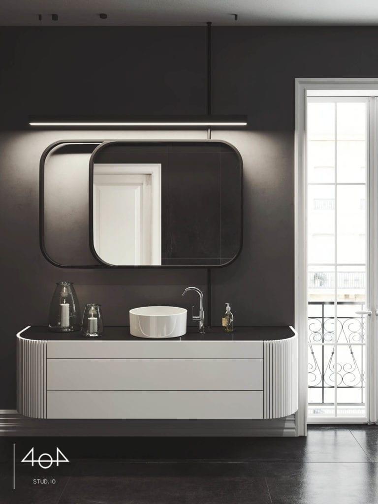 Projekt sypialni i łazienki od pracowni 404 Stud.io - dom w Toruniu - Aleksandra Franczak - czarna łazienka