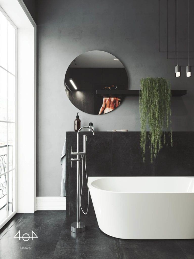 Projekt sypialni i łazienki od pracowni 404 Stud.io - dom w Toruniu - Aleksandra Franczak - okrągłe lustro w czarnej łazience