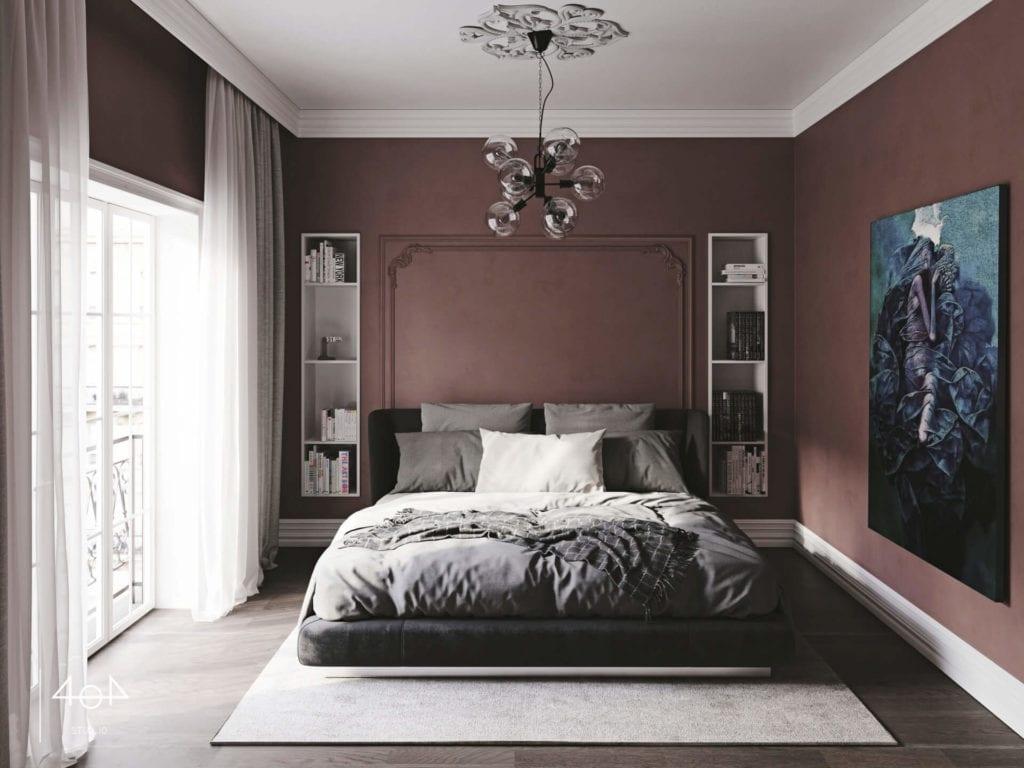 Projekt sypialni i łazienki od pracowni 404 Stud.io - dom w Toruniu - Aleksandra Franczak - duże łóżko w fioletowej łazience