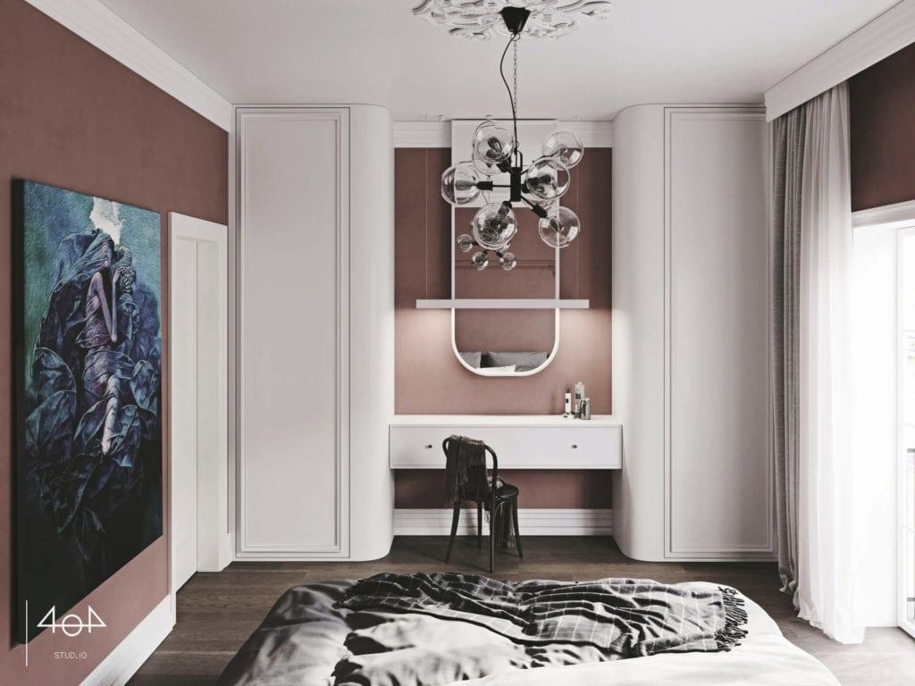 Projekt sypialni i łazienki od pracowni 404 Stud.io - dom w Toruniu - Aleksandra Franczak - białe meble w fioletowej sypialni
