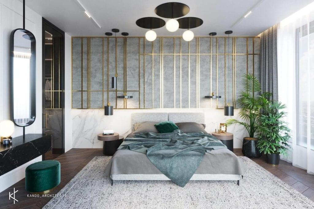 Stylowe wnętrza apartamentu projektu Kando Architects - Apartament z wdziękiem - duże łóżko w sypialni