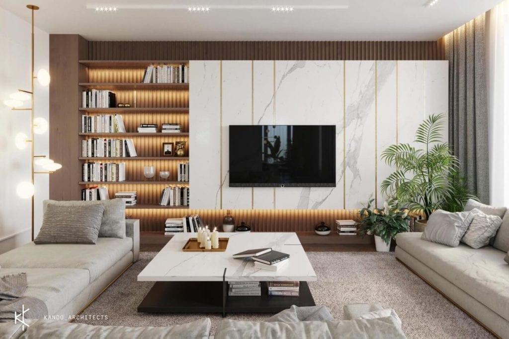 Stylowe wnętrza apartamentu projektu Kando Architects - Apartament z wdziękiem - marmurowy stolik w salonie