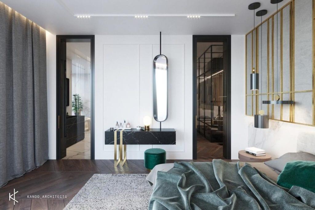 Stylowe wnętrza apartamentu projektu Kando Architects - Apartament z wdziękiem - sypialnia w jasnych kolorach