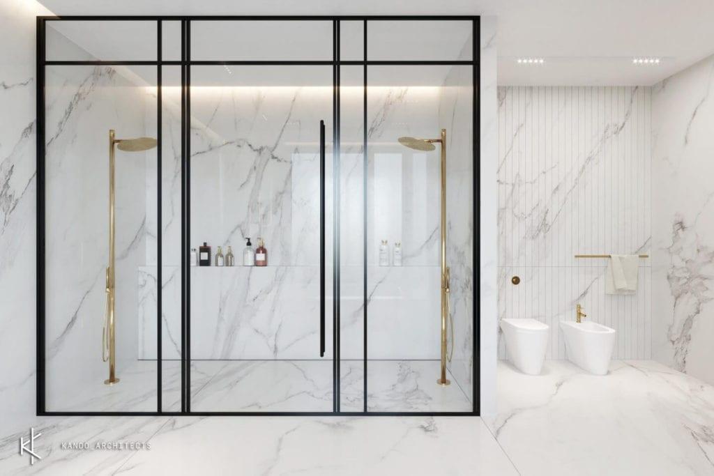 Stylowe wnętrza apartamentu projektu Kando Architects - Apartament z wdziękiem - kabina prysznicowa w łazience