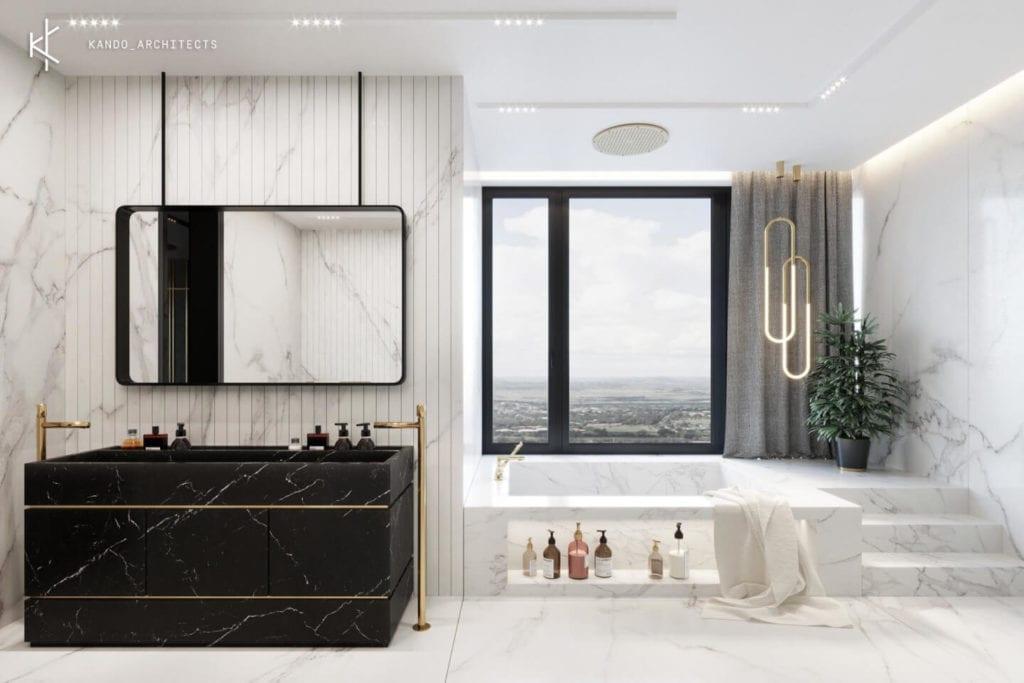 Stylowe wnętrza apartamentu projektu Kando Architects - Apartament z wdziękiem - łazienka z widokiem