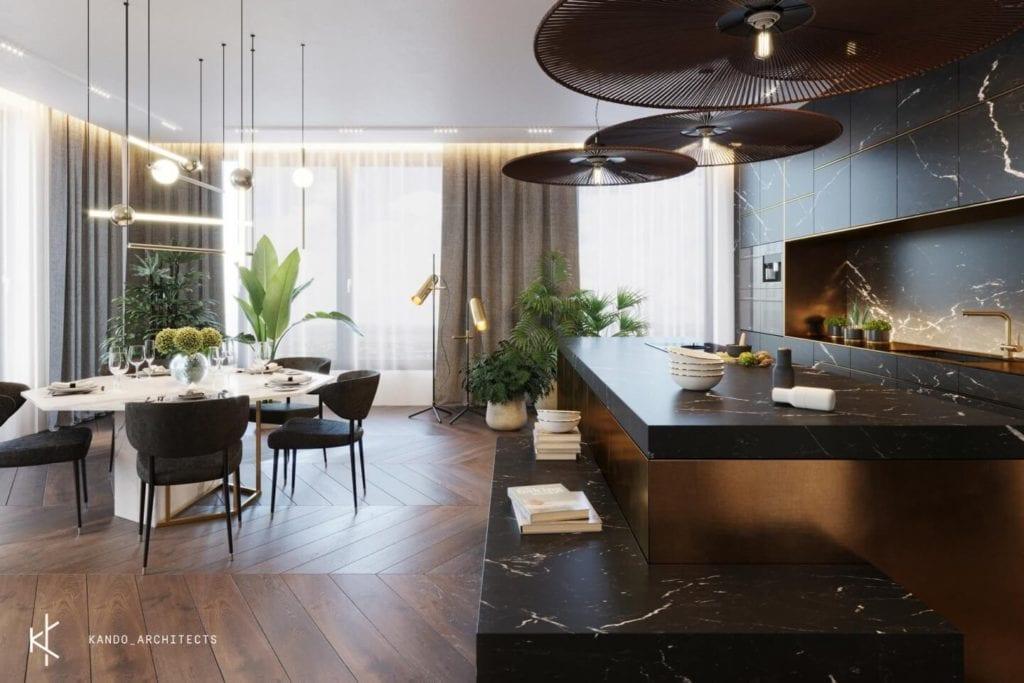 Stylowe wnętrza apartamentu projektu Kando Architects - Apartament z wdziękiem - salon z ciemną podłogą