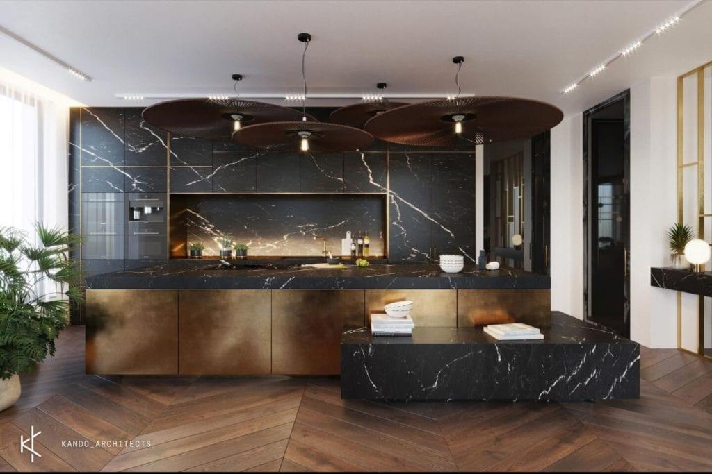 Stylowe wnętrza apartamentu projektu Kando Architects - Apartament z wdziękiem - kuchnia połączona z salonem