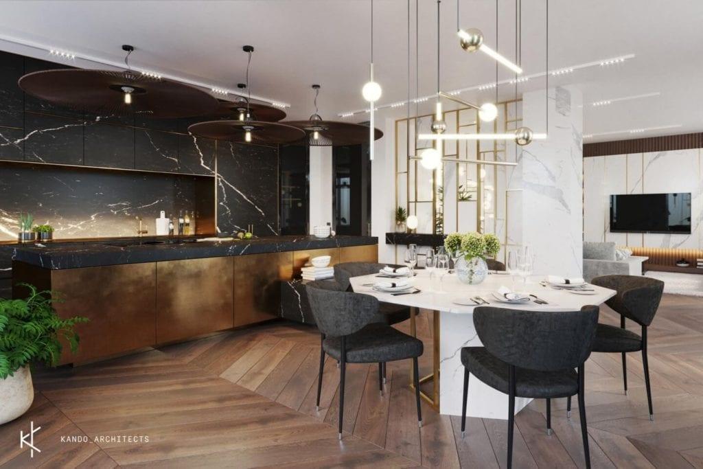 Stylowe wnętrza apartamentu projektu Kando Architects - Apartament z wdziękiem - ciemna podłoga w salonie