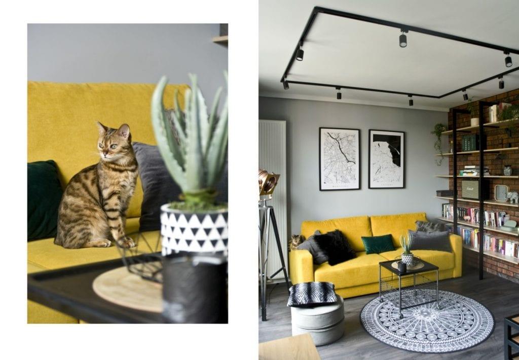 Za co kochamy styl loftowy? Projekt Miśkiewicz Design - Magdalena Miśkiewicz - żółty akcent w mieszkaniu