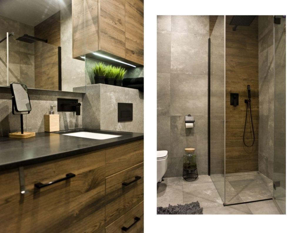Za co kochamy styl loftowy? Projekt Miśkiewicz Design - Magdalena Miśkiewicz - łazienka w ciemnych kolorach