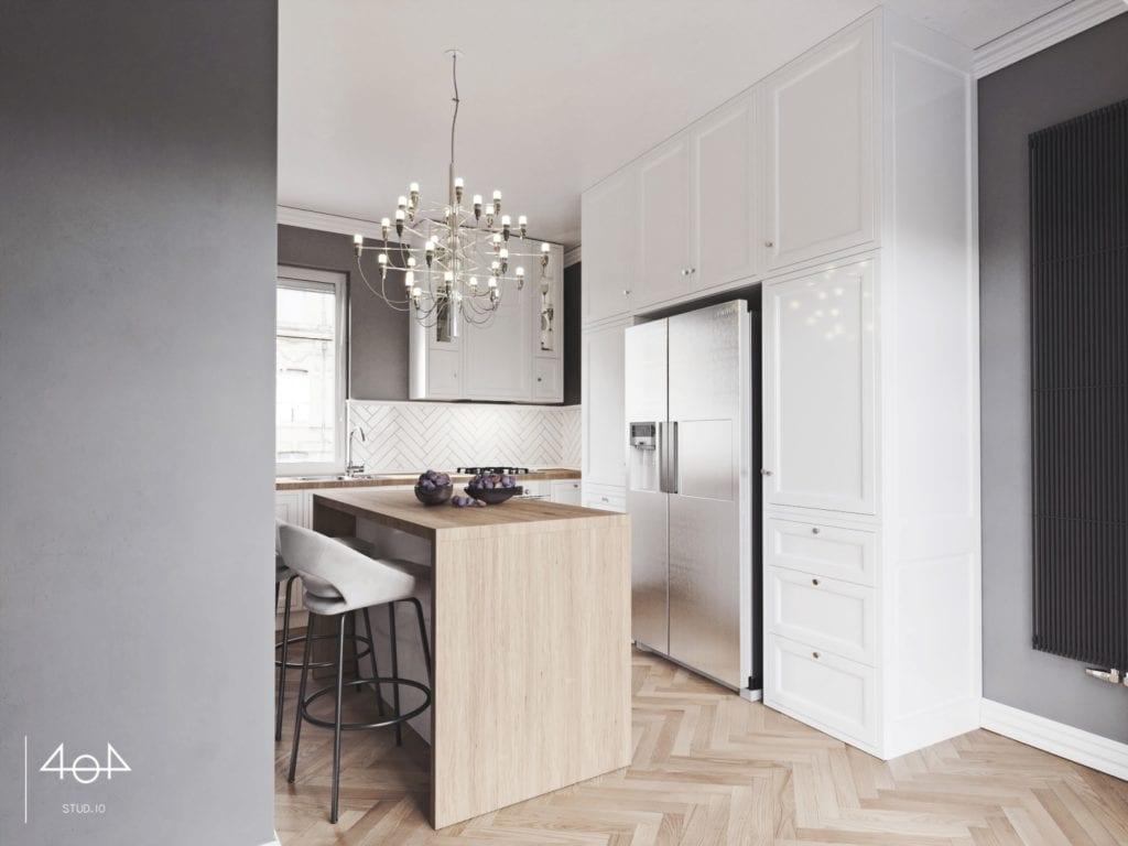 404 Stud.io i projekt kuchni oraz łazienki w poznańskiej kamienicy - białe meble w kuchni