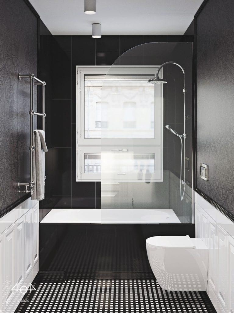 404 Stud.io i projekt kuchni oraz łazienki w poznańskiej kamienicy - czarne ściany w łazience