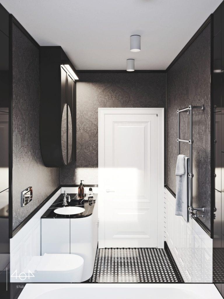 404 Stud.io i projekt kuchni oraz łazienki w poznańskiej kamienicy - łazienka w czerni