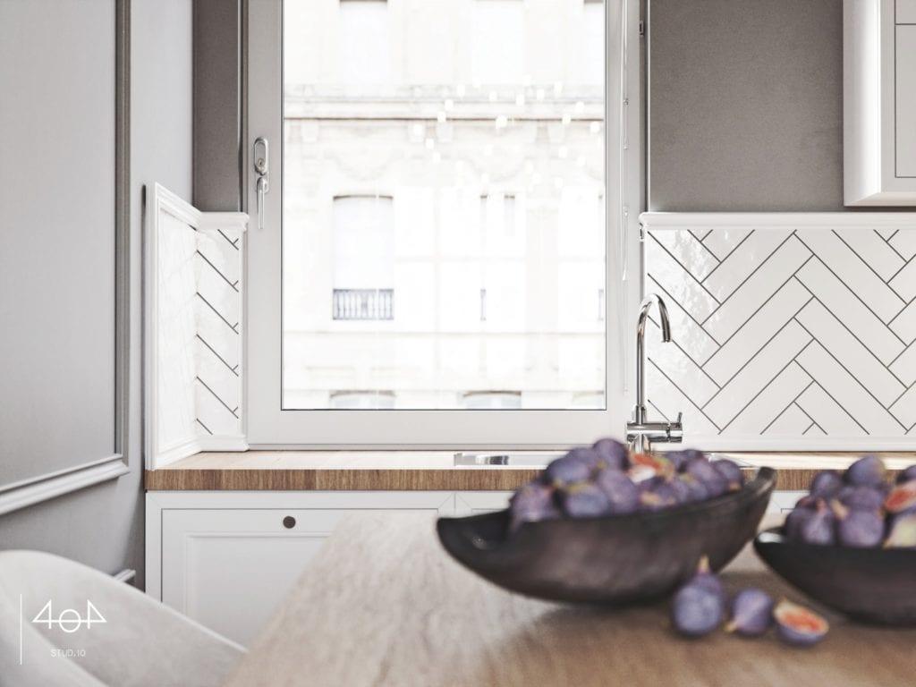404 Stud.io i projekt kuchni oraz łazienki w poznańskiej kamienicy - jasne detale w kuchni