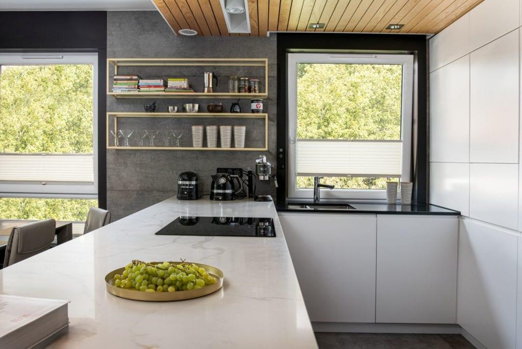 Apartament z widokiem na park Kościuszki w Krakowie projektu Mikołajska Studio - wyspa w kuchni