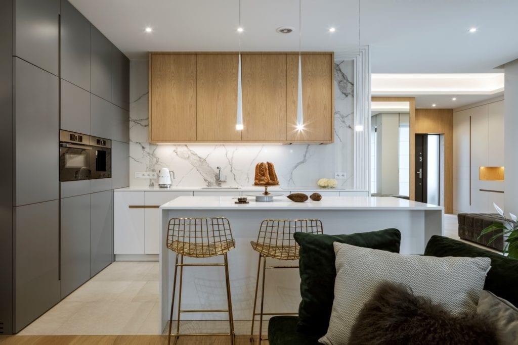 Dom projektu HOLA Design w świątecznej stylizacji - wyspa w kuchni
