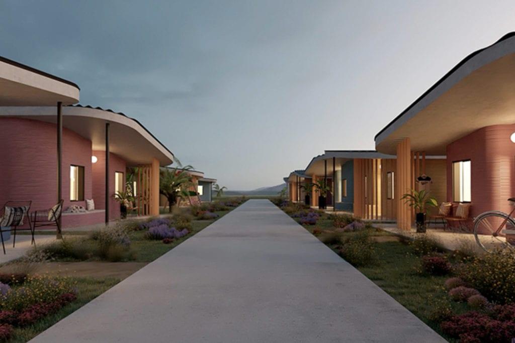 Domy z drukarki 3D w miejscowości Tabasco w południowym Meksyku - projekt New Story ICON i fuseproject - widok osiedla