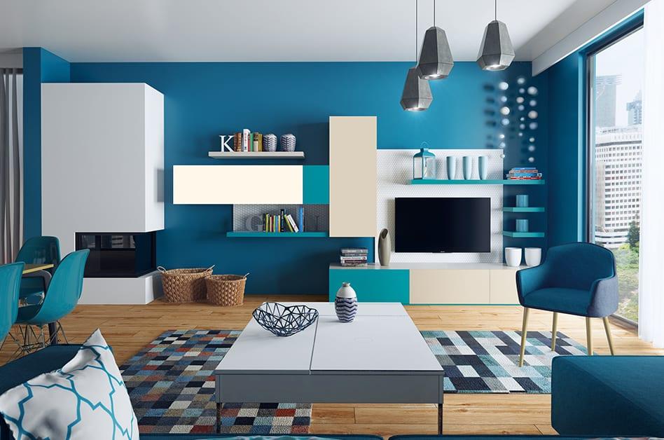 Jak powiększyć małe mieszkanie? 7 porad od projektantów - salon w seledynowym kolorze