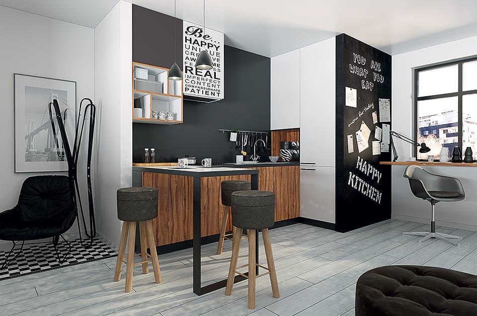 Jak powiększyć małe mieszkanie? 7 porad od projektantów - kuchnia w bieli i szarościach