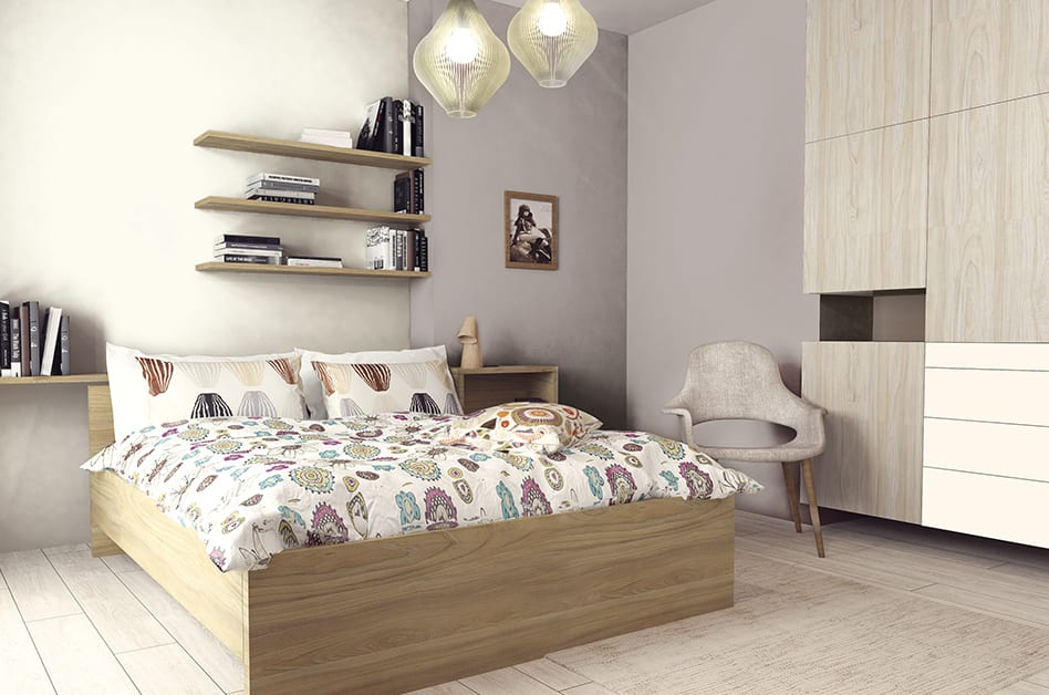 Jak powiększyć małe mieszkanie? 7 porad od projektantów - sypialnia z łóżkiem