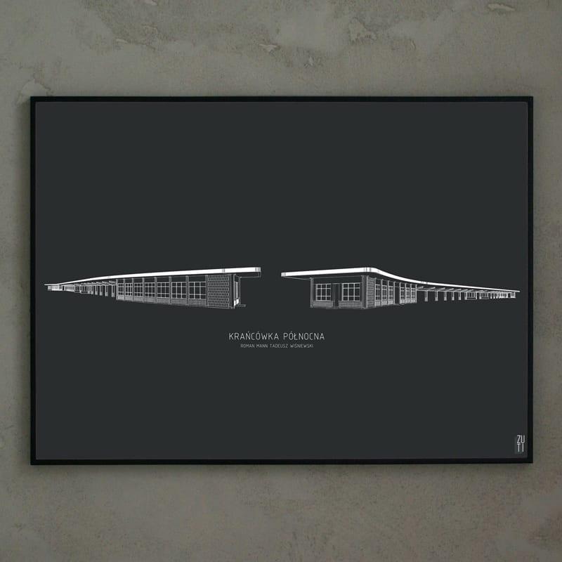 Plakaty architektoniczne projektu Zuti Grafika - Gosia Zboina - plakat Krańcówka północna