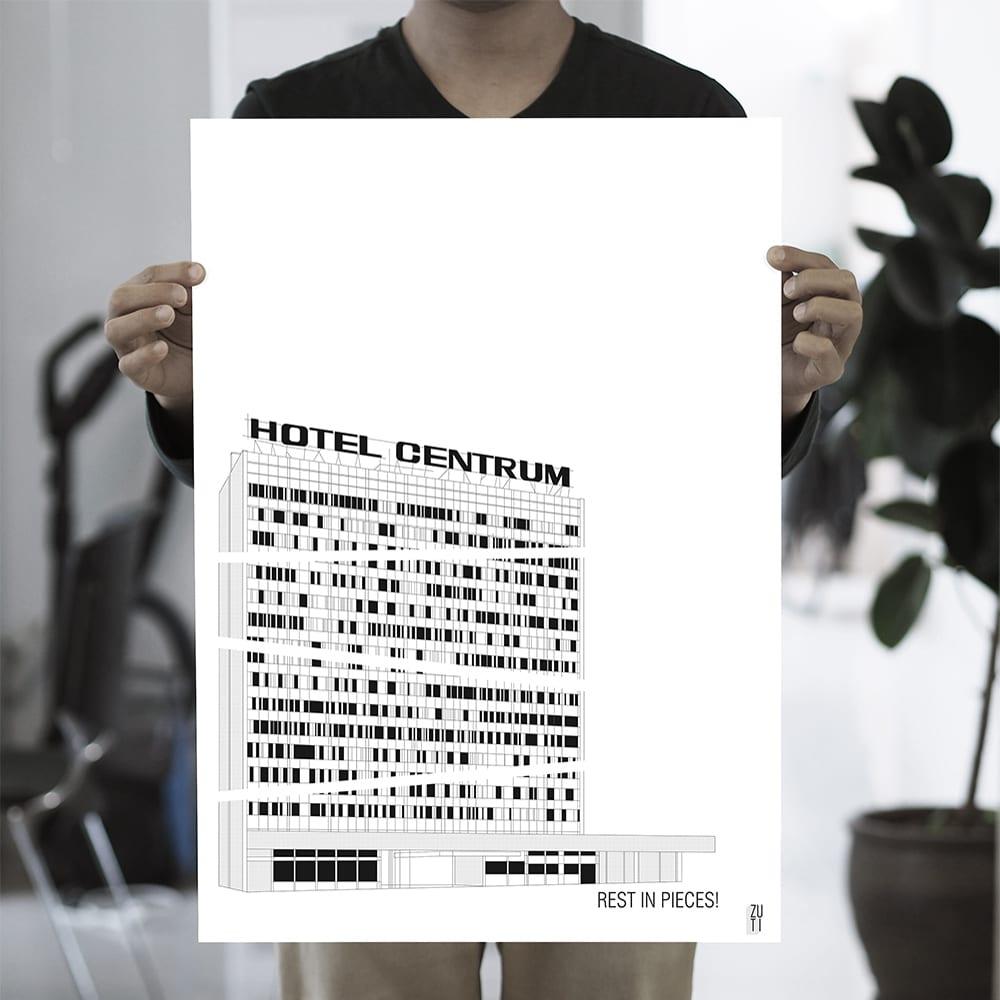 Plakaty architektoniczne projektu Zuti Grafika - Gosia Zboina - plakat Hotel Centrum