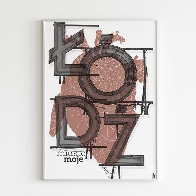 Plakaty architektoniczne projektu Zuti Grafika - Gosia Zboina - plakat Łódź moje miasto