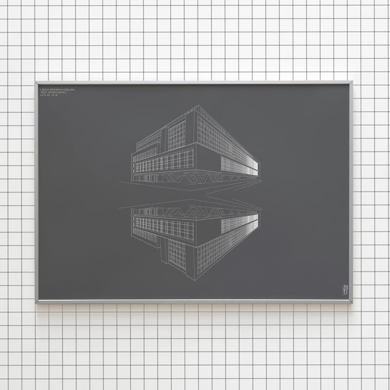 Plakaty architektoniczne projektu Zuti Grafika - Gosia Zboina - plakat Drukarnia dziełowa