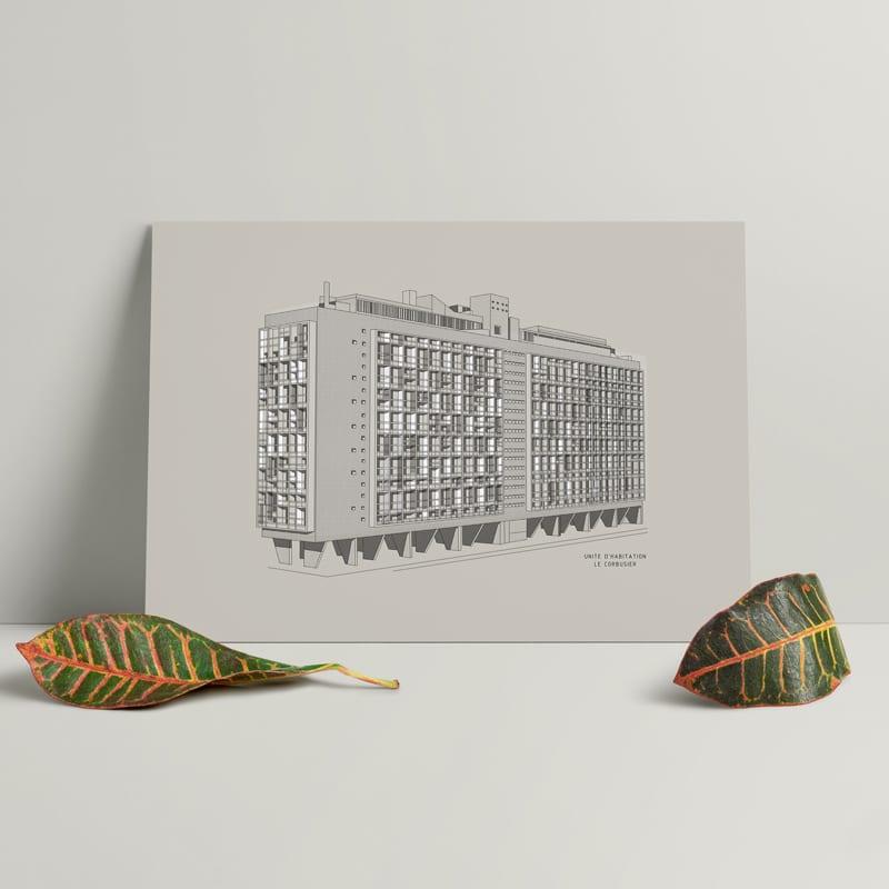 Plakaty architektoniczne projektu Zuti Grafika - Gosia Zboina - plakat Unite d' habitation
