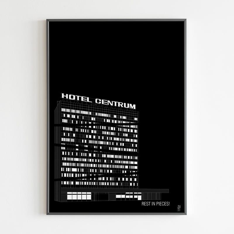 chitektoniczne projektu Zuti Grafika - Gosia Zboina - plakat Hotel Centrum