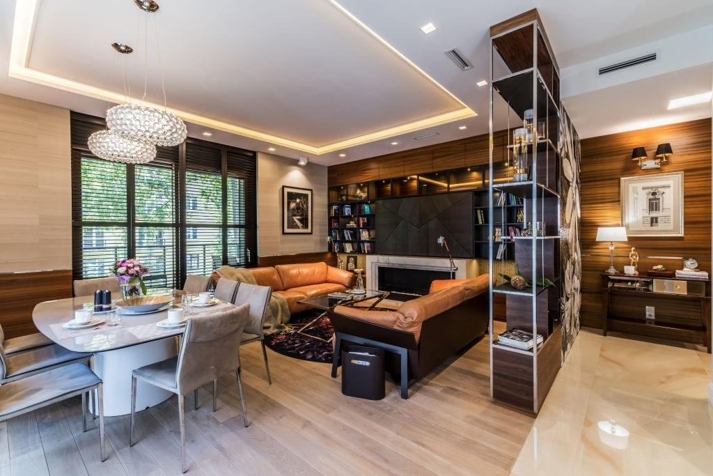 Pracownia Viva Design i luksusowy apartament w Warszawie - duży salon w apartamencie