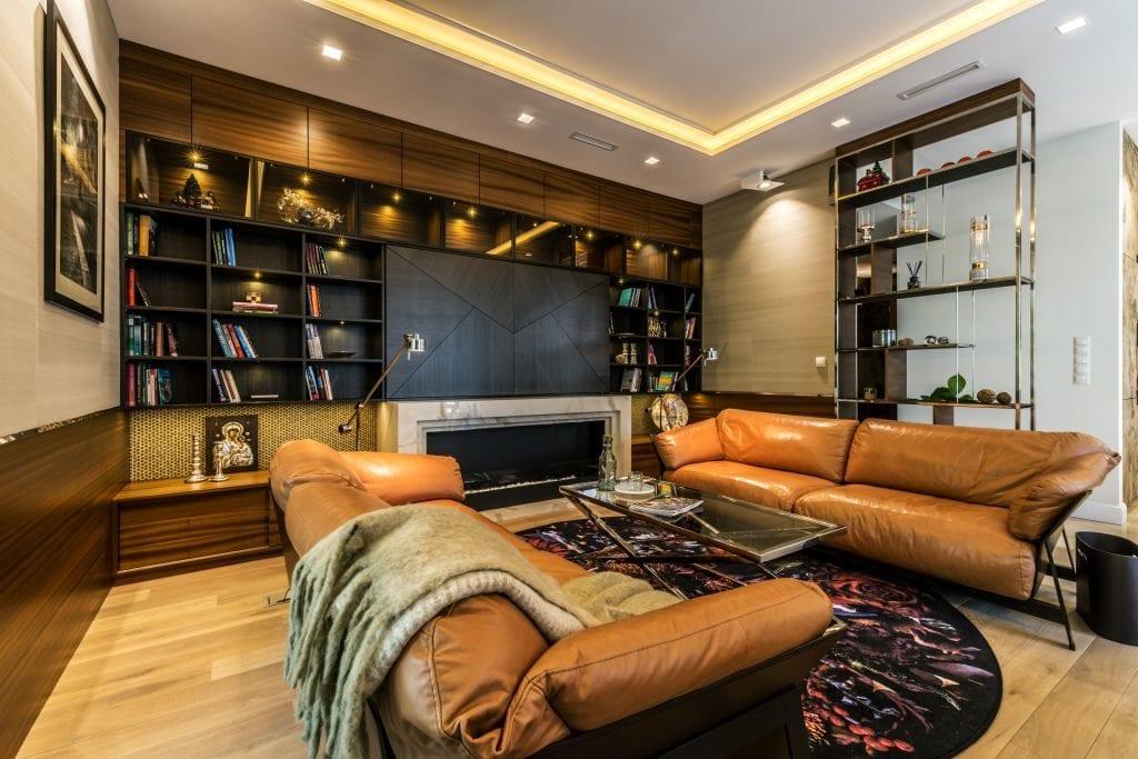 Pracownia Viva Design i luksusowy apartament w Warszawie - salon w ciemnych kolorach