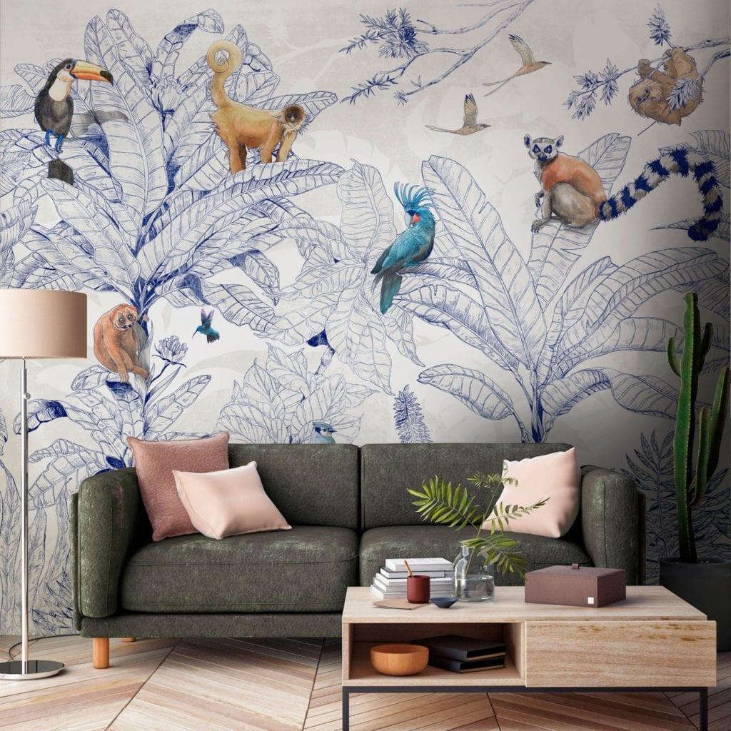 Trendy w aranżacji ścian - Tapety Tecnografica - wzór Jungle Club