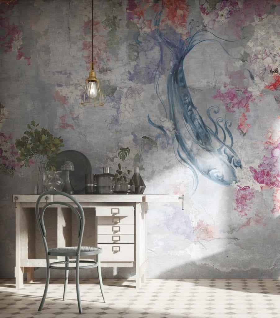 Trendy w aranżacji ścian - Tapety Tecnografica - wzór Rapsodia in Blu