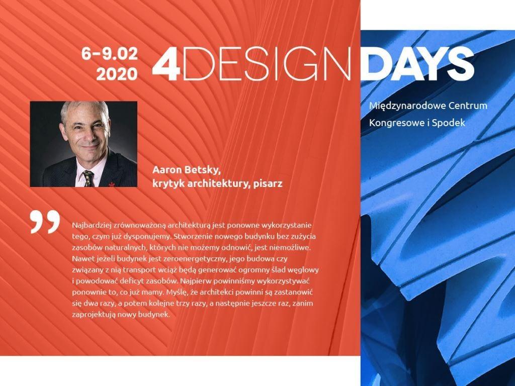 Gwiazdy architektury i designu na 4 Design Days 2020 - Aaron Betsky