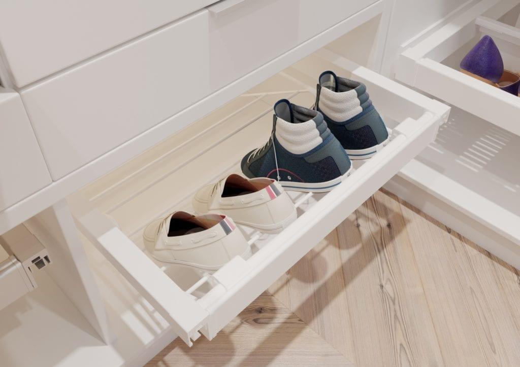 Jak urządzić funkcjonalną garderobę? 5 prostych zasad - półka na buty