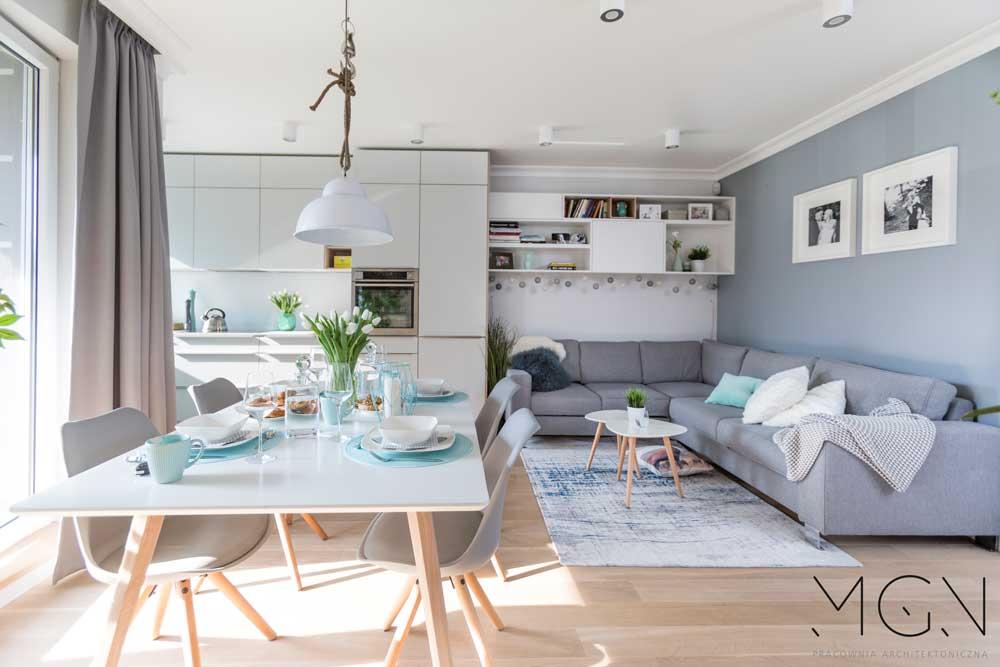 MGN Pracownia Architektoniczna i projekt mieszkania z miętowymi akcentami