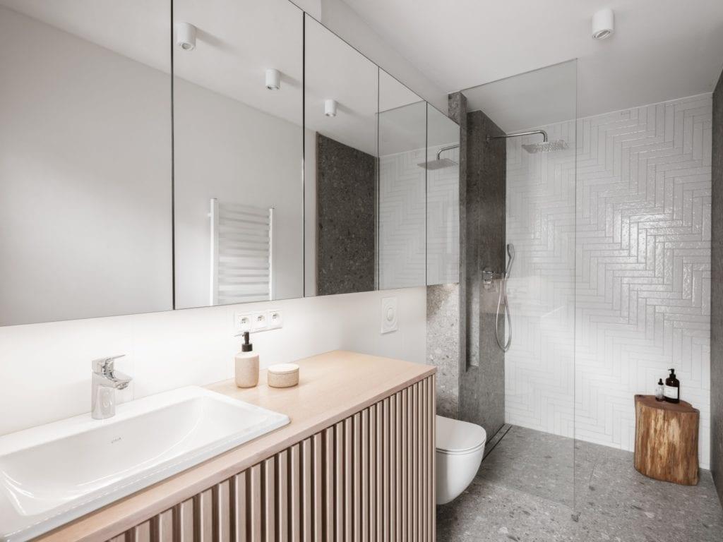 Mieszkanie architektki Karoliny Gacy z pracowni GRUPA NONO - łazienka w jasnych kolorach