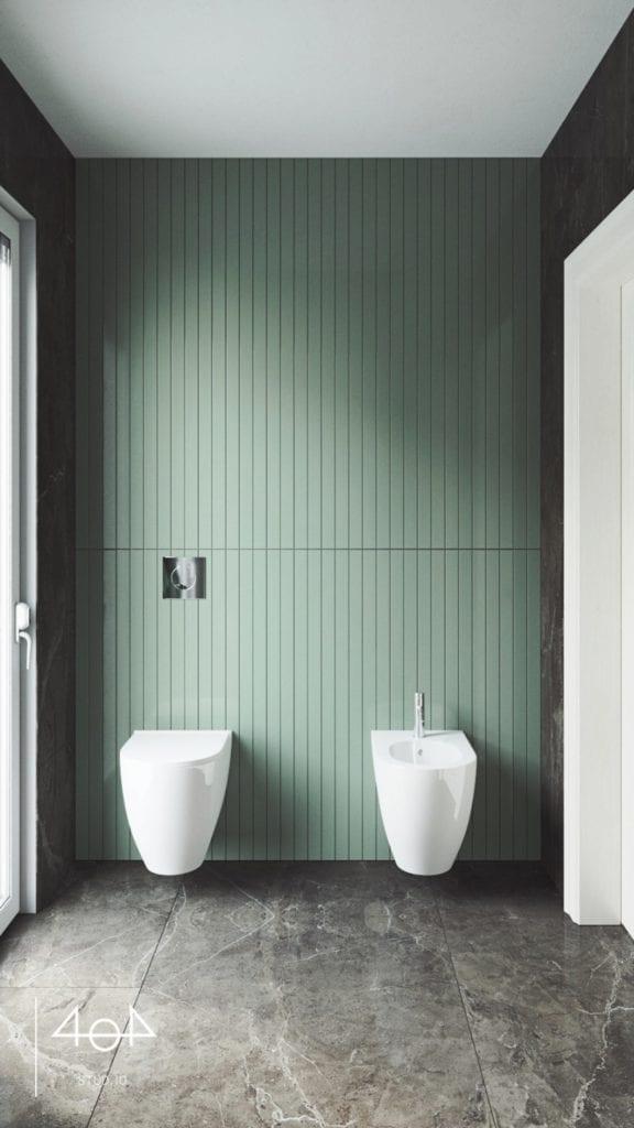 Minimalistyczny projekt mieszkania i łazienka w zielonym kolorze