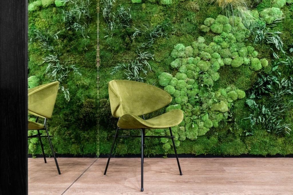 Zielona ściana i zielony fotel w coworku Solutions Rent