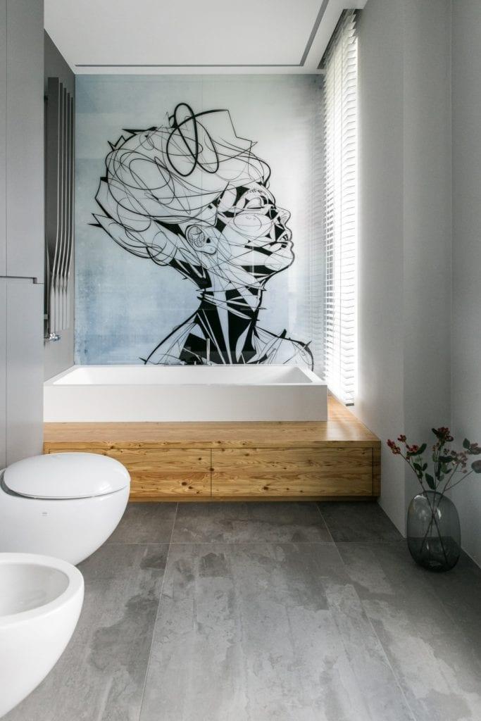 Joanna Zabłocka studio projekowania wnętrz - projekt poznańskiego apartamentu - piękna grafika z kobietą w łazience