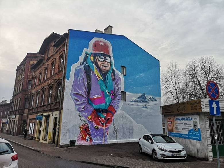 Wybierz najlepszą realizację 2019 - plebiscyt Polska Architektura XXL - Mural przedstawiający Jerzego Kukuczkę w Katowicach, Wojciech Walczyk